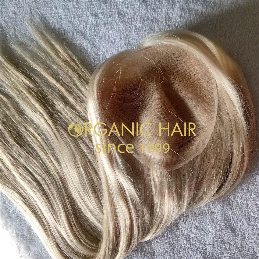 Blonde full lace base raw remy virgin cuticle aligned  hair topper A211