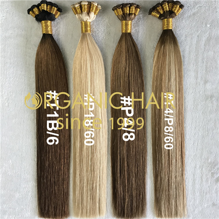 Highlights and piano color hand tied wefts H215