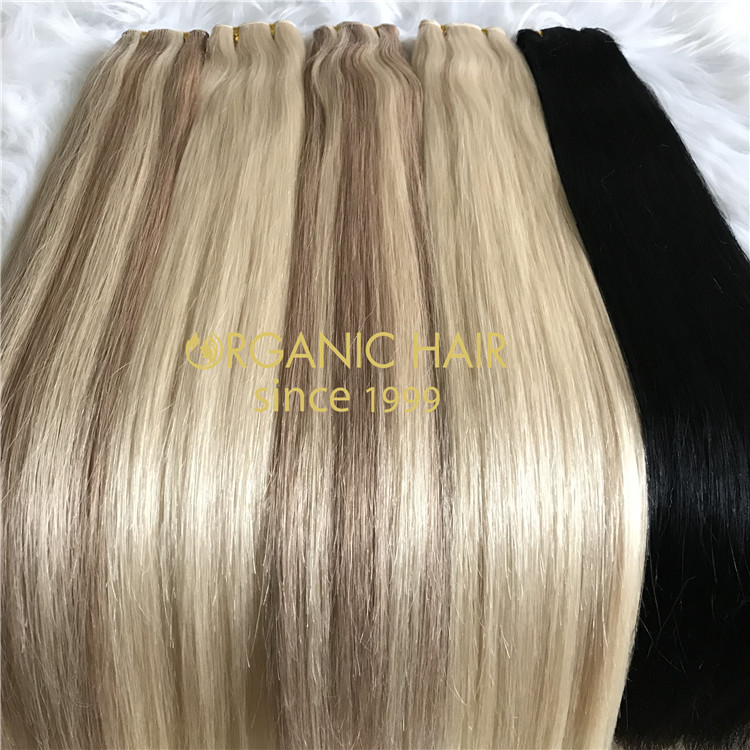 Russian human hair hand tied weft with full cuticle intact  C99