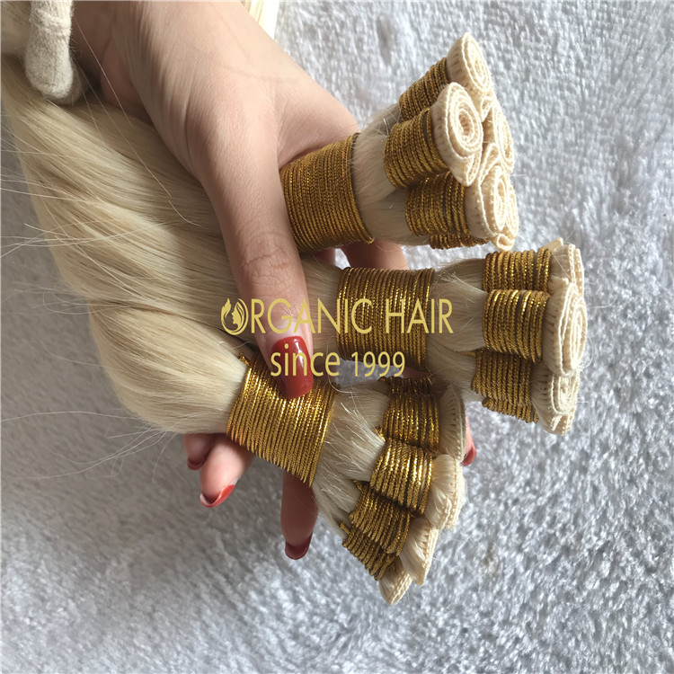 High quality human hair extensions#60 hand tied hair H131