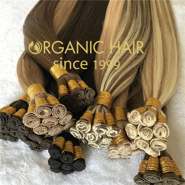Human hair hand tied weft with full cuticle intact CC116