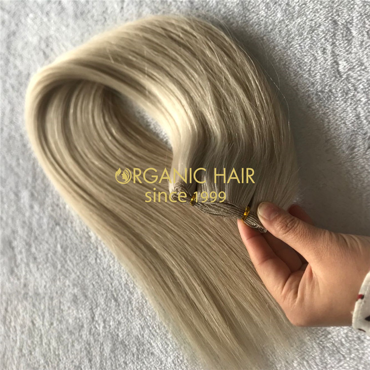 Human full cuticle hair hand tied wefts blonde color X202