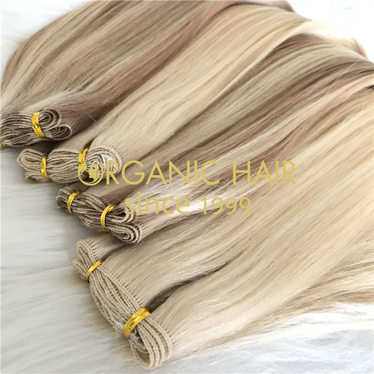 Custom Blonde Hand Tied Weft For Summer H280