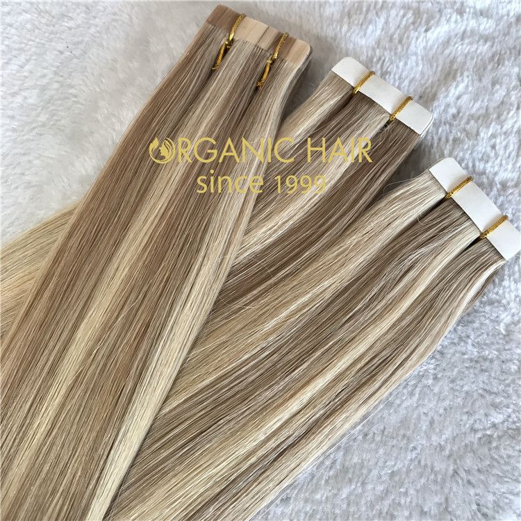 Piano color double drawn tape in hair extensions C87