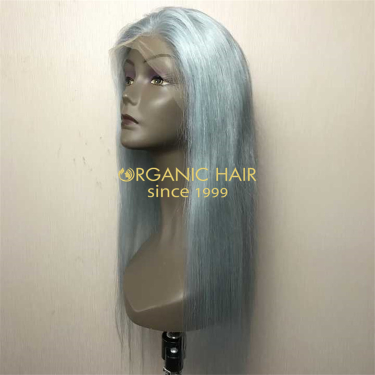 Light blue full lace wig with high quality human hair A98