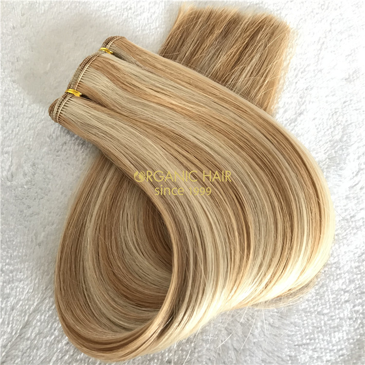 Human customized hand tied wefts Balayage #20/60 color X192