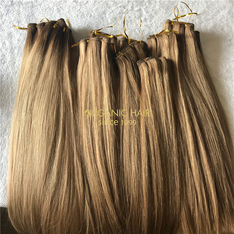Rooted color human full cuticle hand tied wefts hair X199