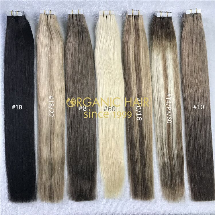 Customized color human tape in hair extensions X218