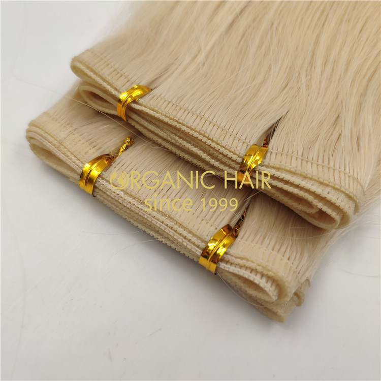 Wholesale human full cuticle flat wefts blonde color X335