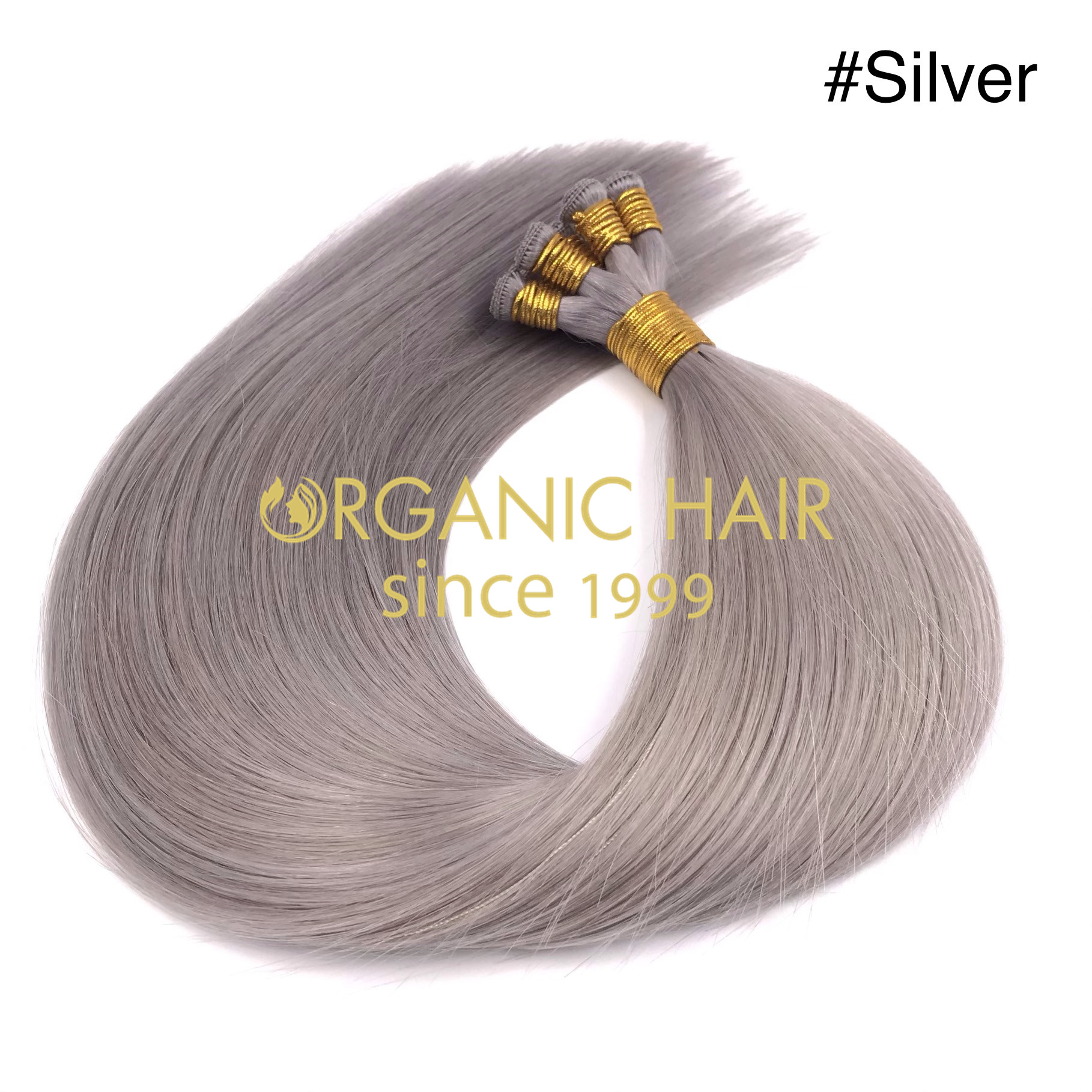 Wholesale sliver color human handtied wefts J03