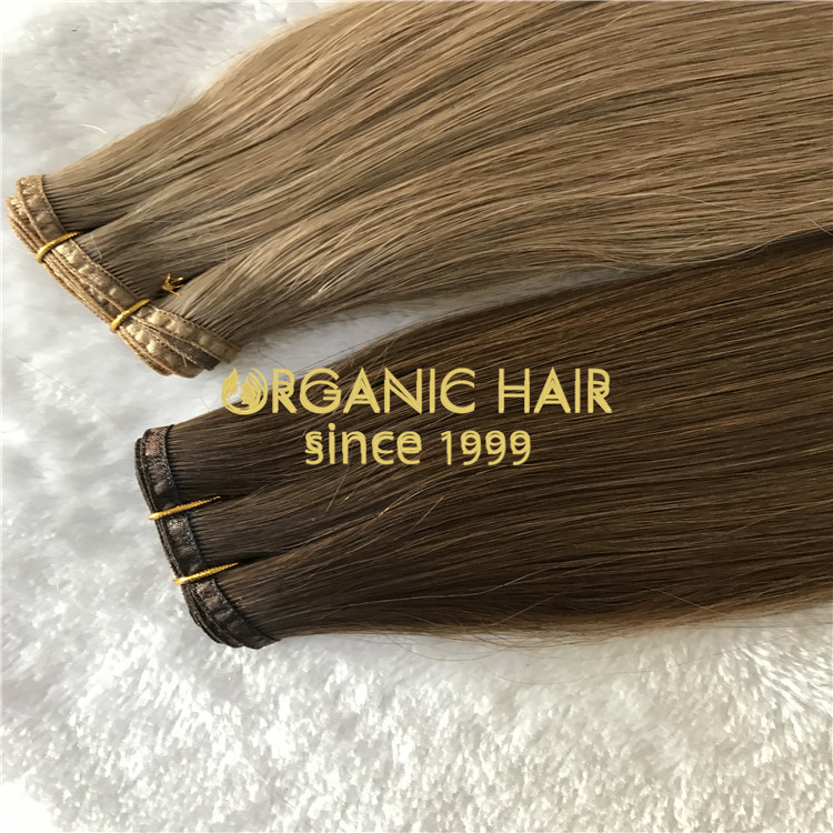 Full cuticle hybrid flat wefts hair extensions H152