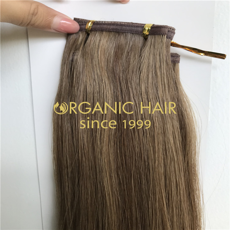 Cool ashy brown color 18A and color 8 hair extensions H312