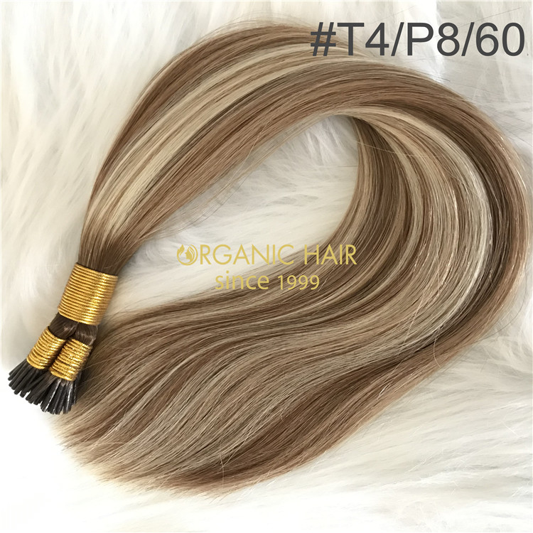 Customized human itip hair extensions #T4/P8/60 color X207