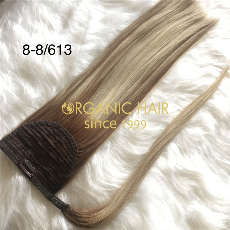 16inches T8-8/613  ponytail hair with best cuticle hair A195