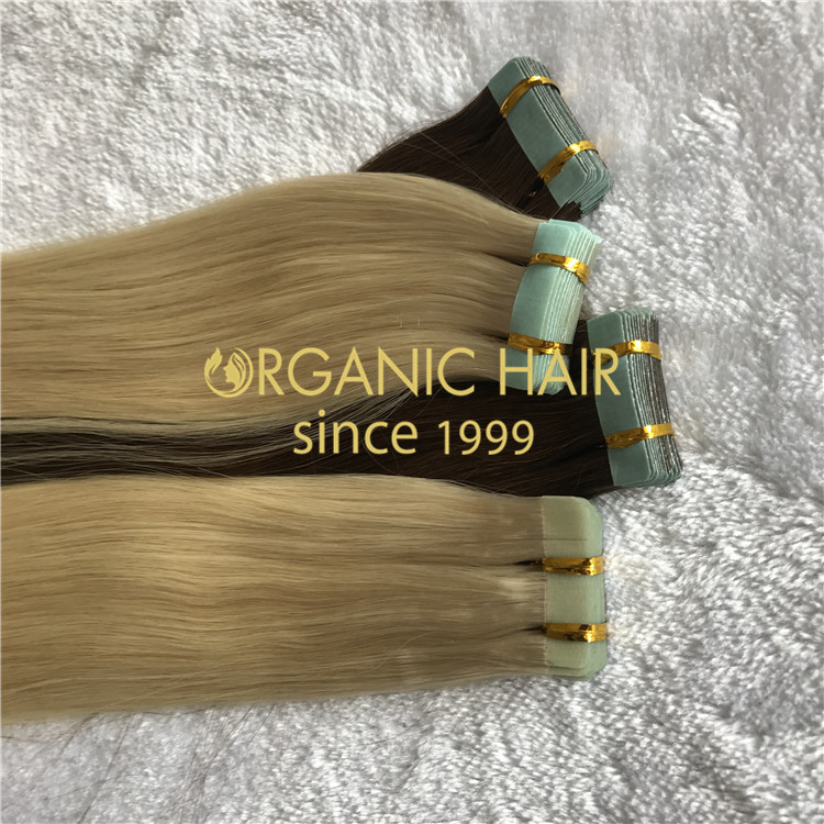 Blonde hair tape extensions  H175