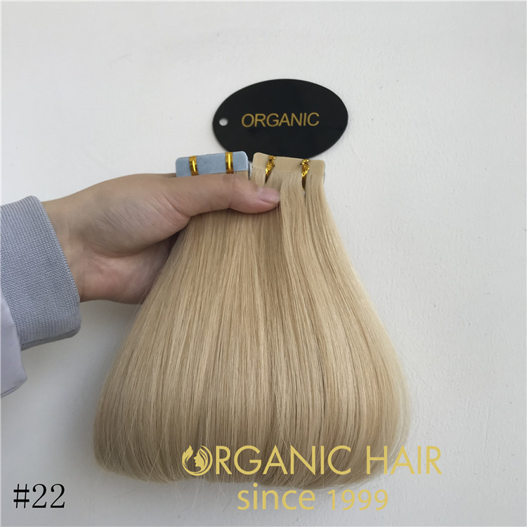 wholesaler golden blond color tape in hair extensions rb69