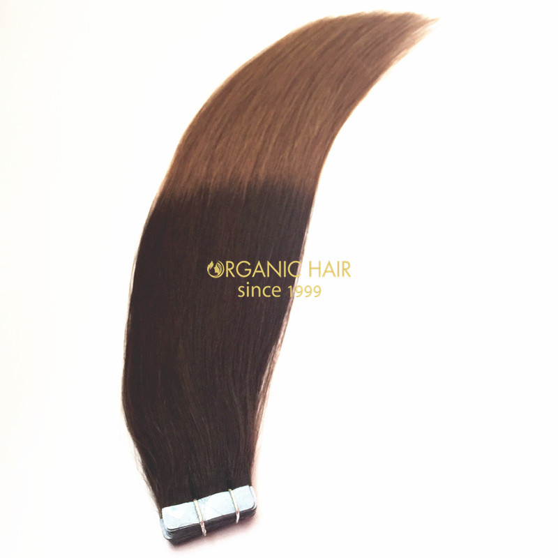 Ombre color high quality tape in hair extensions