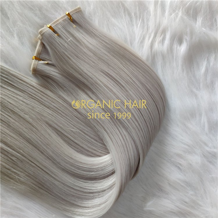 Wholesale human ash blonde #60A color Hybrid flat wefts X301