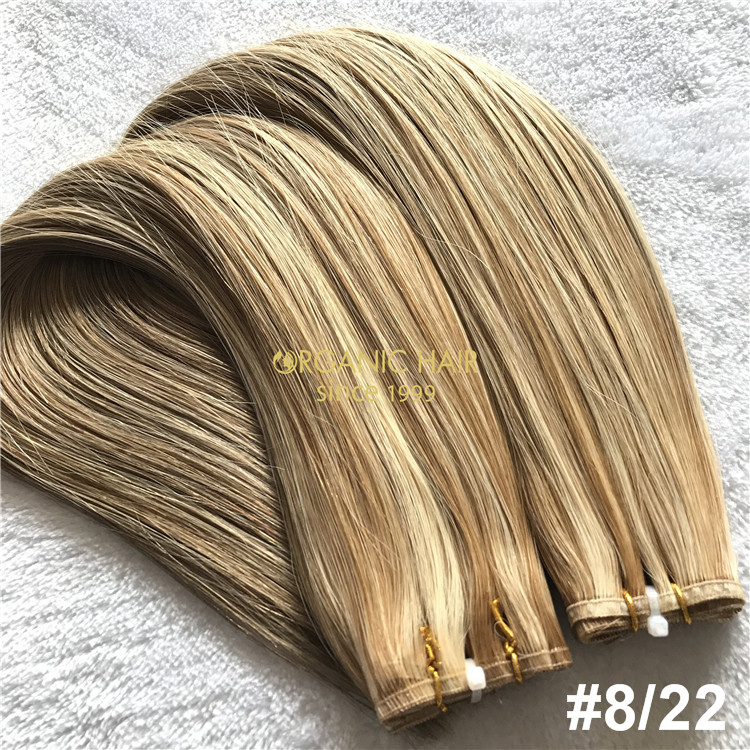 Wholesale human piano color #8/22 flat wefts hair extensions X324