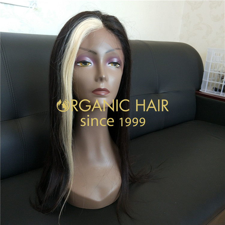 Wholesale ombre hair wigs with free part,blonde patch in the middle ,virgin hair,100% human hair wigs in Chinese factory R21
